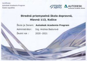 certifikát Autodesk Academia
